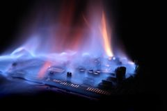 Soundcard  in the fire Royalty Free Stock Photos
