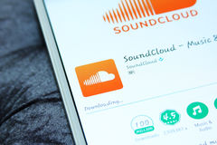 Soundcloud mobiele app stock foto