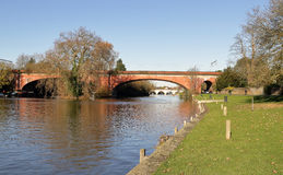 Sounding Arch Bridge over the River Thames. Brunel`s Sounding Arch railway bridge over the river Thames at Maidenhead Stock Photos