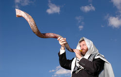 Sounding a Yemenite Shofar Stock Photo