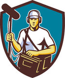 Soundman Film Crew Microphone Crest Retro. Illustration of a soundman film crew worker with headphone carrying bag holding a telescopic microphone facing front vector illustration