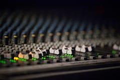 Soundmixer in the nightclub. Control panel - sound mixer in the nightclub Stock Photography