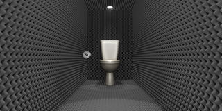 Soundproof Toilet Cubicle. A crude concept depicting a porcelain toilet with a tissue paper roll located in a room clad in sound proofing with downlighters Stock Photo