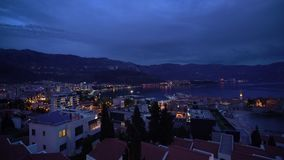Sounds of night in Budva. Sounds of the Budva town after sunset, Montenegro stock video footage