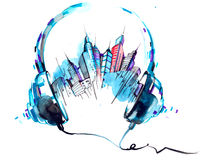 Sounds of  city. Architecture with music from headphones Stock Photography