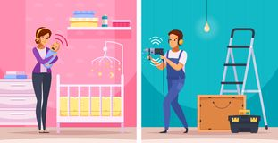 Sounds Neighbors Cartoon Compositions. Including woman with crying newborn baby and apartment repair isolated vector illustration Royalty Free Stock Photos