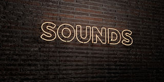 SOUNDS -Realistic Neon Sign on Brick Wall background - 3D rendered royalty free stock image. Can be used for online banner ads and direct mailers Stock Photo