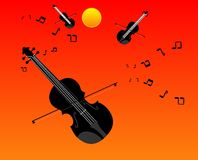The sounds of the violins and fiddles... Universal string orchestra music in the air around the world Stock Images