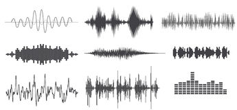 Sounds wave. Vector sound waves set. Audio Player. Audio equalizer technology, pulse musical Royalty Free Stock Images