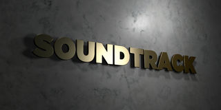 Soundtrack - Gold text on black background - 3D rendered royalty free stock picture Stock Images