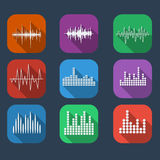 Стиль установленного цвета значка звуковой войны плоский Установленные значки soundwave музыки Стоковое Изображение