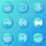 Soundwave blue icons Stock Photo