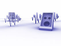 Soundwave blues. 3d rendered image of a pair of speakers and a soundwave Stock Images