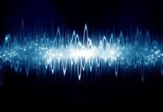 Soundwave. Bright sound wave on a dark blue background Royalty Free Stock Photos