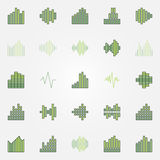 Soundwave colorful icons set. Vector green music sound wave or equalizer creative signs royalty free illustration