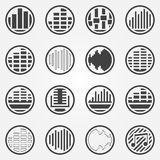 Soundwave or equalizer round icons set Royalty Free Stock Photo