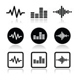 Soundwave music  icons set Royalty Free Stock Photo