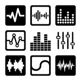 Soundwave Music Icons Set on White Background Royalty Free Stock Photography