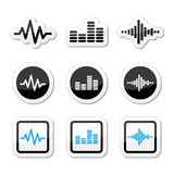 Soundwave music vector icons set Royalty Free Stock Images