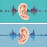 Soundwave tramite l'orecchio umano Immagini Stock Libere da Diritti