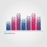 Soundwave vector illustration concept. Equalizer formed by small particles. Simple, but original. Isolated on white background stock illustration