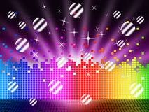 Soundwaves Background Means Songs Stars And Striped Balls Stock Photography