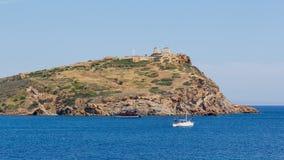 Sounio Umhang und Poseidon Tempelansicht, Griechenland Stockfoto