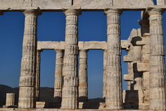 Sounion the ancient Greek temple of Poseidon Royalty Free Stock Photos