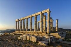Sounion, Attica/Griekenland: De tempel van Poseidon stock afbeelding