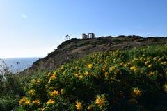 Sounion de oude Griekse tempel van Poseidon Stock Fotografie