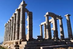 Sounion gammalgrekiskatemplet av Poseidon Royaltyfria Foton