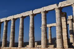 Sounion gammalgrekiskatemplet av Poseidon Arkivbild