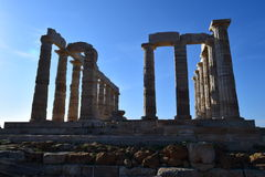 Sounion gammalgrekiskatemplet av Poseidon Royaltyfri Foto