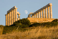 Sounion Moonrise Zdjęcia Stock