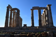Sounion o templo do grego clássico de Poseidon Fotos de Stock