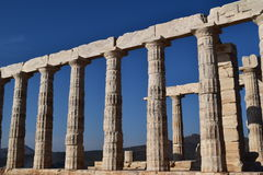 Sounion o templo do grego clássico de Poseidon Fotografia de Stock