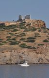 Sounion temple and a boat Royalty Free Stock Images