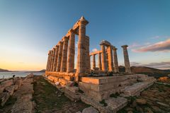 Sounion, Temple of Poseidon in Greece, sunset hour. Horizontal royalty free stock photography