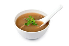 Soup. Mushroom  soup in bowl on hand made background Stock Photography