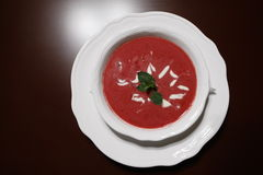 Soup. Cream soup on the white plate Royalty Free Stock Photography
