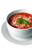 Soup. Tomato soup in a bowl, isolated on white Stock Images