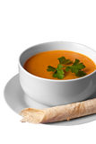 Soup. In a bowl, isolated on white Royalty Free Stock Image