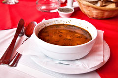 SOUP. A bowl of soup on the restaurant table horizontal Stock Image