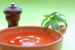 Soup. Fresh healthy tomato soup garnished with heart shaped cream drops and basil stock photography