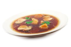 Soup. Plate of mushroom soup on white background royalty free stock photography