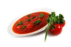 Soup. Red tomato soup on white background stock photo