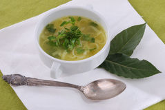 Soup. With pasta and parsley on white napkin Stock Photo