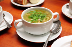 Soup. Portion of soup in white soup plate Royalty Free Stock Photo