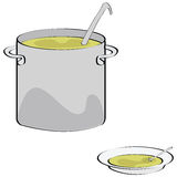Soup. Illustration of a big cooking pot and a plate with soup Royalty Free Stock Images