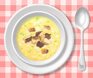 Soup. With croutons and spoon Stock Photos